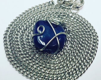 Wire wrapped lapis lazuli stone necklace