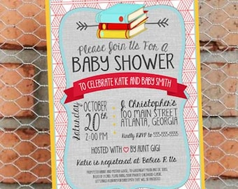 Book Themed Baby Shower Invitation - Classic Book Baby Sprinkle - Gender Neutral - Customize - Printable - 5x7 inch - Red Yellow Blue