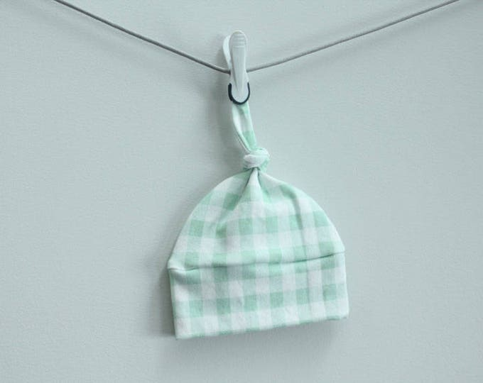 Baby Hat mint buffalo check plaid Organic knot PETUNIAS modern newborn baby shower gift photo prop hospital outfit accessory