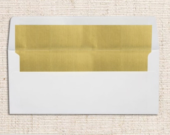 No. 10 Foil Lined Envelopes (4 1/8 x 9 1/2) - White w/Gold LUX Lining - Quantity of 50
