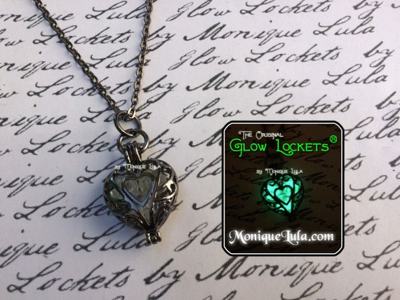 Frozen Heart Galaxy Glowing Glass Necklace Gun Metal