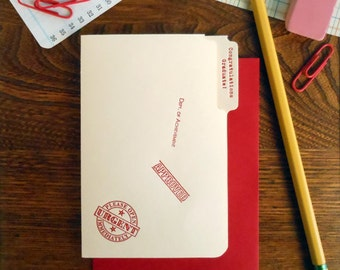 letterpress congratulations graduate mini manila file folder greeting card red ink on manila paper with red envelope