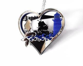 Layered Diorama Necklace - Siren