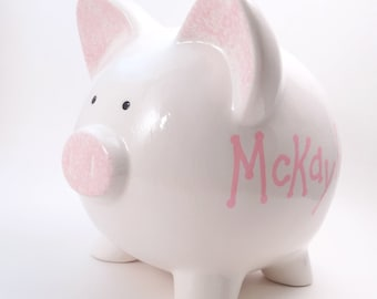 White Personalized Piggy Bank - Classic Plain White Piggy Bank - Old Fashioned Ceramic Bank - with hole or NO hole in bottom - Made in USA