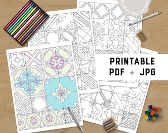 tiles coloring pages for adults printable mixed mosaics coloring pages 4 digital instant download pdf jpg coloring decor