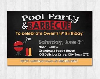 Pool Party BBQ Invitation, Printable Party Invite