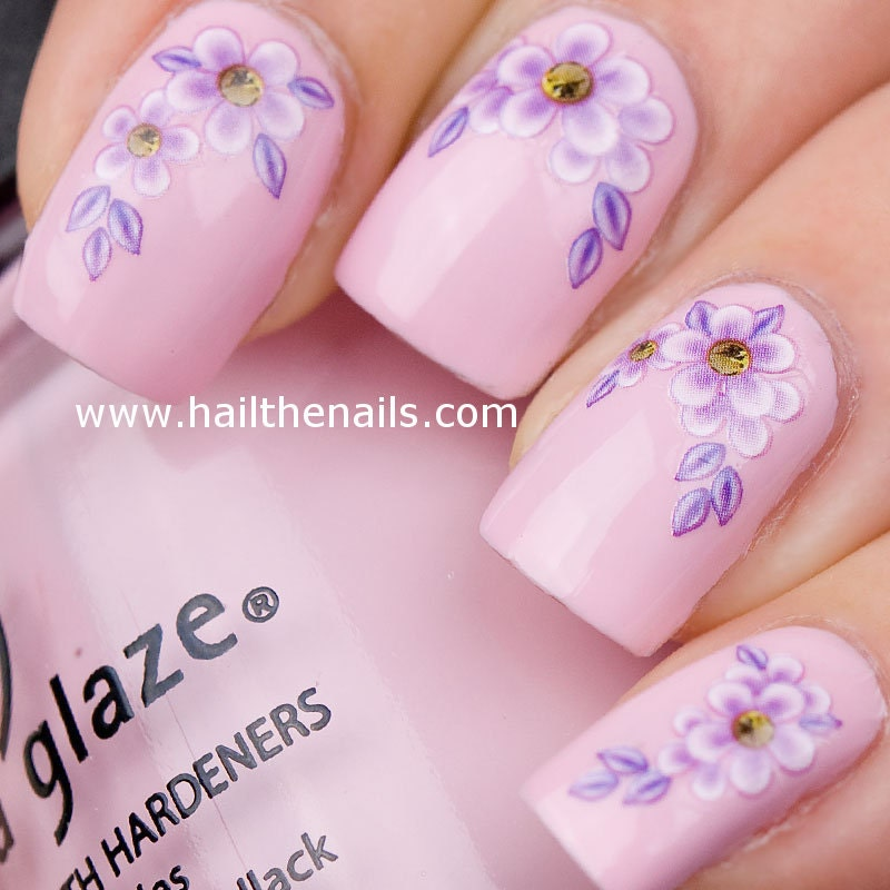 🔎zoom - Lilac Daisy Flower Nail Art Water Transfer Decal YD021