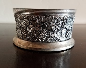 Silver Plate Wine Bottle Coaster with Grapes Vine Pattern