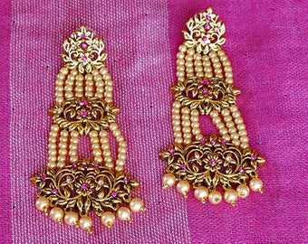 Antique Gold Tone Pearl Dangle Earrings | Indian Jewelry | Bollywood Jewelry
