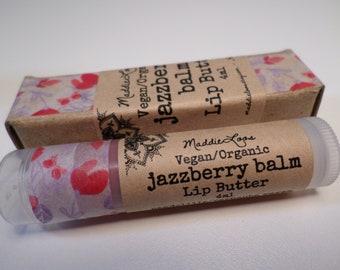 VEGAN ORGANIC JAZZBERRY Balm-Vegan Organic Lip Balm, Organic Vegan Lip Butter, Vegan Lip Stain-pink/red sparkle tinted lip balm(4ml)