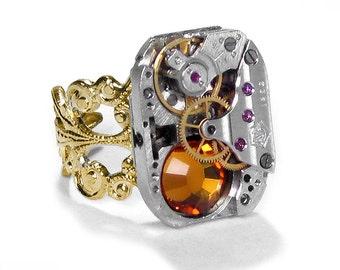 Steampunk Ring Vintage RUSSIAN Ruby PINSTRIPE Watch Filigree Band AMBER Swarovski Wedding Valentines Gift - Jewelry by Steampunk Boutique