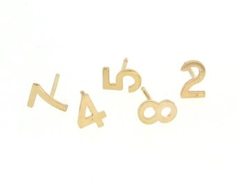 Number Stud Earring - 14k Gold, Any One Number, Stud Earrings As Seen on Kim Kardashian