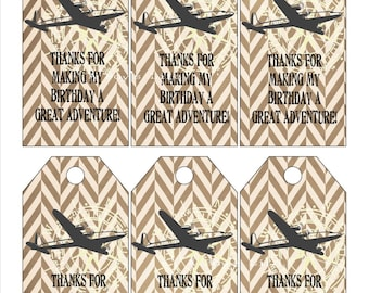 Personalized Airplane Favor Tags PDF Adventure Party