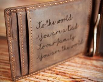 Personalized Wallet,Engraved Leather Wallet,Custom Wallet,Front Pocket Money Clip,RFID Blocking Bifold Slim Wallet, Minimalist Wallet