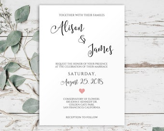 Heart Wedding Invitation, Rustic Wedding Invitation Template Downloads,Wedding Invitation Printable, Wedding Template, Invitation set, 0029