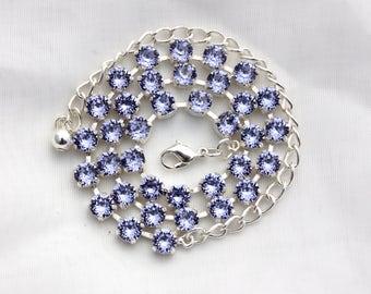 Swarovski Crystal Necklace or Bracelet - Provence Lavender 6mm Swarovski Crystal Jewelry - Available in multiple finishes