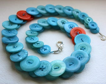 Aquamarine with Orange button necklace Button Jewellery Button Jewelry UK Handmade