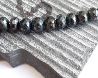 12 Large Mystic Spinel Faceted Rondelle Beads . 7.68 - 8.30 mm