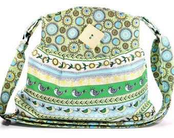 Hobo Shoulder Bag Turquoise Green Yellow Spring Flowers Birds