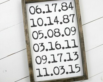 Important Dates Sign Wooden Wood Framed Sign Industrial Country Wood Sign