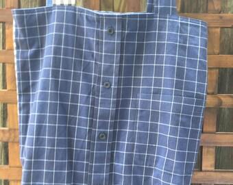 Reversible Market Bag made from mens' shirts