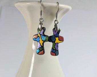 Cross Earrings, Stained Glass Look, Easter, Spiritual Earrings,  Polymer Clay, Dainty Cross Dangles,  Lightweight Crosses, Colorful Crosses