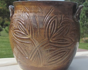 Large Two Eared Pot - Planter - Handmade Carved Pottery - Visit shop for more
