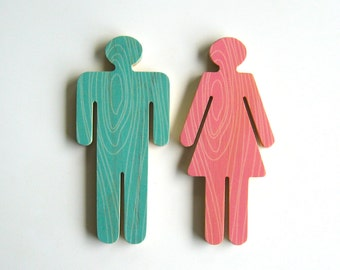 Objectify Bathroom Female/Male Sign Figures - Faux Bois Pattern