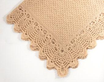Knitted Baby Blanket, Beige Baby Blanket, Crochet Lace baby Blanket, Lap Blanket, Mohair Blanket, Shower Gift, New Mom Gift