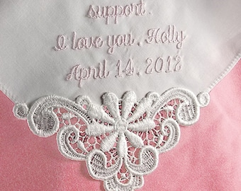 Gift for Mother of the Bride Custom Embroidered Personalized Hankerchief Mother of the Bride Gift 9301C