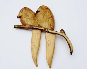 "Celluloid Plastic Lovebirds Birds on a Branch Large Brooch Pin 2 3/4"""