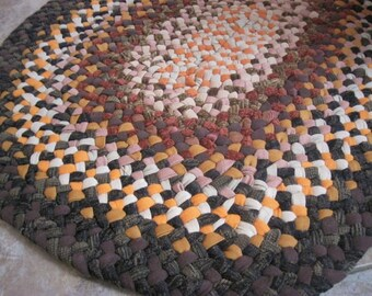 New Ready To Ship Sturdy Handmade Hand Braided Recycled Oval Rug / Rag Rug / Carpet in Fall Colors for Bathroom / Kitchen / Entryway