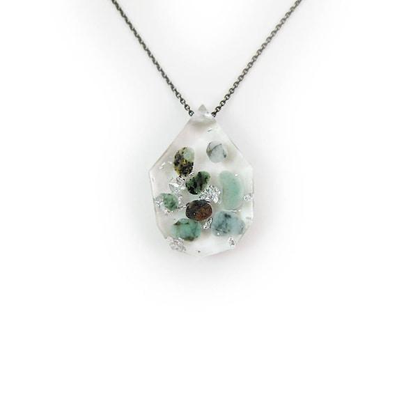 Emerald Eco Resin Tumbled Stone Necklace