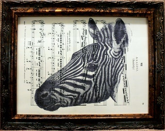Zebra Art Print from 1883 on Antique Music Book Page