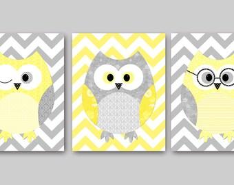 Yellow Grey Owl Wall Decor Baby Boy Wall Art Owl Decor for Nursery Art Kids Wall Art Baby Room Decor Kid Art Children Wall Decor set of 3 //