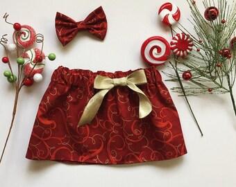 Red and Gold Christmas Skirt, Baby Christmas Skirt, Toddler Christmas Skirt, Crimson and Gold Girls Skirt, Girls Clothing Skirts