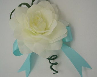 Creamy White Gardenia Pin or Wrist Corsage, Aqua, Silk Flower, Wedding, Prom, Homecoming, Special Occasion, FFT design, Made to order