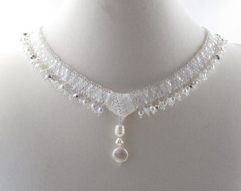 Love Knot Crystal and Pearl Weddding Necklace