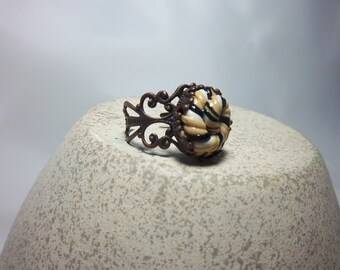Clearance  Ring, Swirled Cream, White and Black Polymer Clay, Adjustable, Antique Bronze, Fun Jewelry