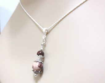 Stone Pendant Necklace/ Chocolate Brown/ Sterling Silver Rope Chain/ Brown & Tan Natural Stone Beads/ Lacy Silver/ 18 or 20 Inch Chain