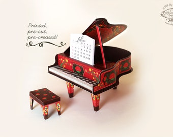 Printed 2018 and 2019 DIY Paper Desk Calendar Papercraft | Colorful Red Grand Piano Calender Miniature | Pre-cut Kit | Musician Music Gift