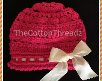 Hot Pink Cloche Winter Hat / Baby Girl Crochet Pink Hat / 3-6 Months Girl Hat / Crochet Winter Girl Hat / Winter Hat with Ribbon / Girl Hat