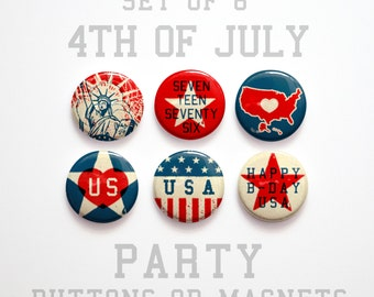 """Summer Outdoors, Red White and Blue 4th of July Buttons 1 inch or Magnets Set of 6, 1"""" July 4th Decorations, Fourth of July Magnets"""