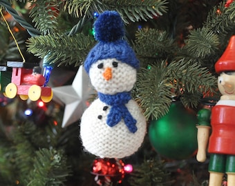 Hand-Knit Snowman Ornament with Blue Hat & Scarf   Snowman Christmas Ornament  *Available to Order*