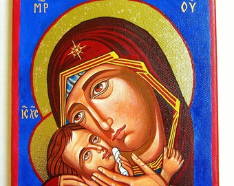 Mother and child, Eleusa - handpainted orthodox icon on canvas,  Byznatine style,12 by 10 inches