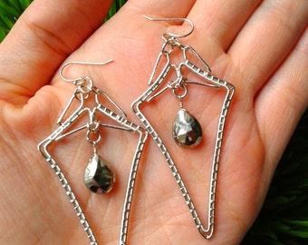 Wire Wrapped Earrings Diamond Shaped Geometric Faceted Pyrite Chandelier Long Earrings