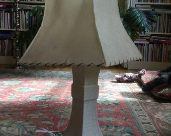 Mid Century Ceramic Table Lamp with Atomic Fiberglass Shade