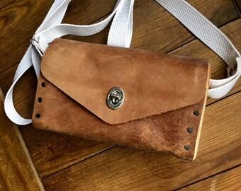 Wood Leather Shoulder Cross Body Bag Purse Satchel, Unique Shoulder Bag, Rustic Boho Small Tote Bag, On Sale, Gift For Her, 3rd Anniversary