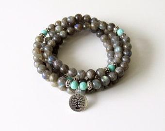 Labradorite Mala Necklace Amazonite Mala Wrap Bracelet Tree of Life Necklace Yoga Necklace Meditation Necklace Gift