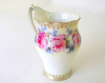Antique RS Prussia Creamer - Hand Painted Roses